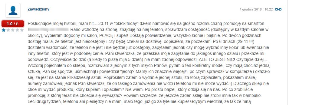 Opinia Black Friday